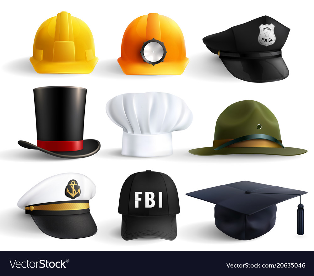 Different professions hats set vector image