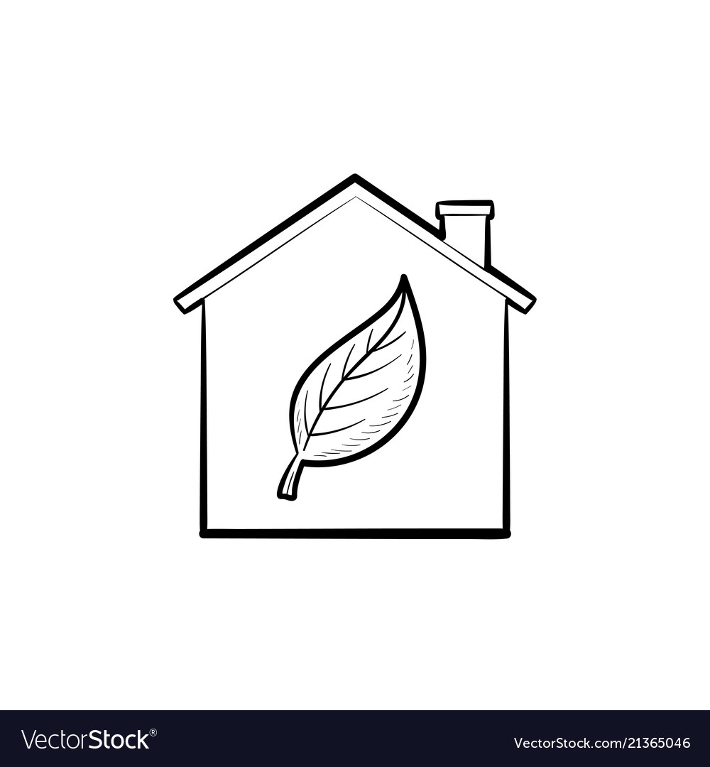 Eco house hand drawn outline doodle icon