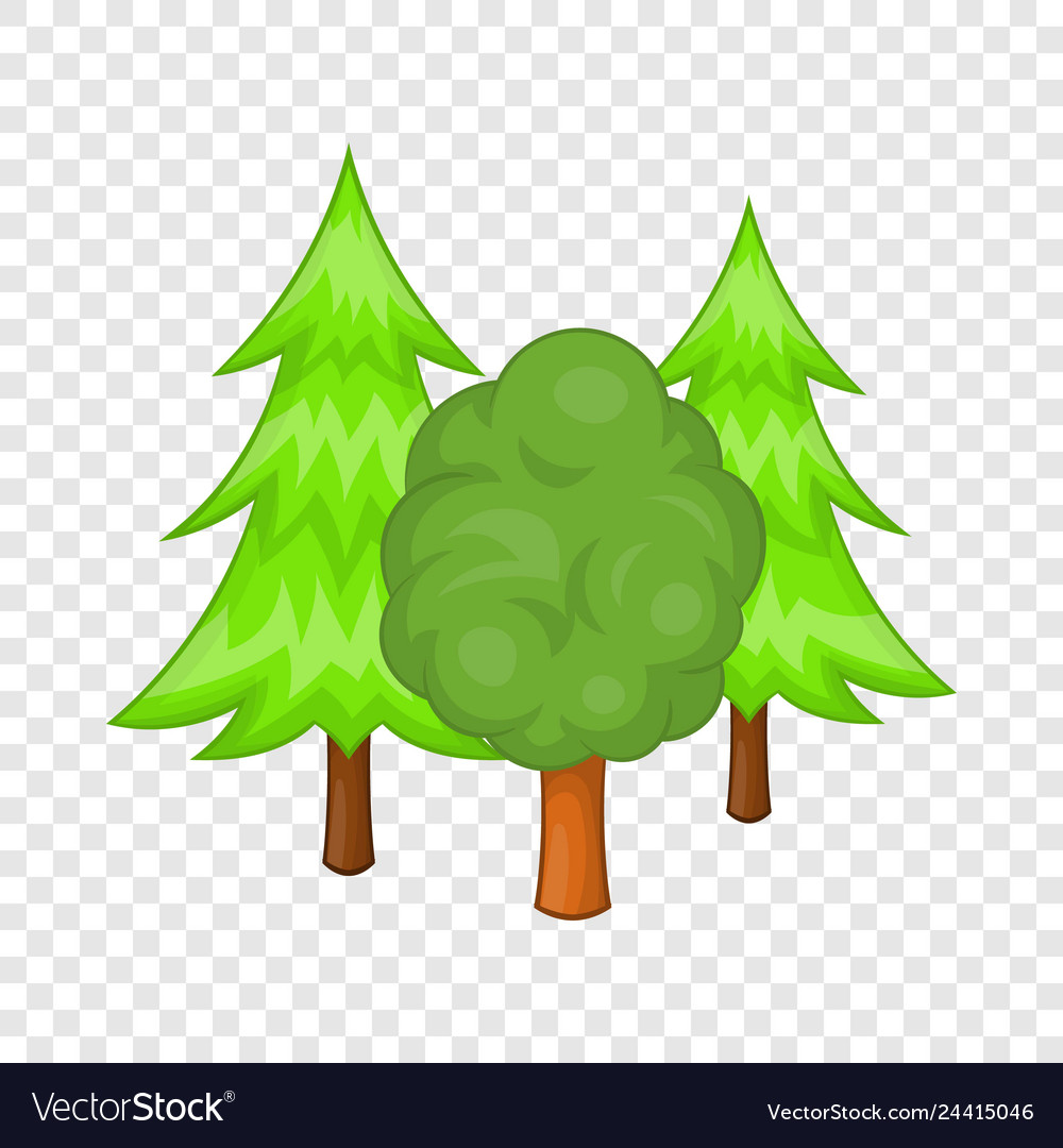 Cartoon Tree Evergreen : Hand drawn cartoon landscape scene with evergreen pine on the top of the hill.