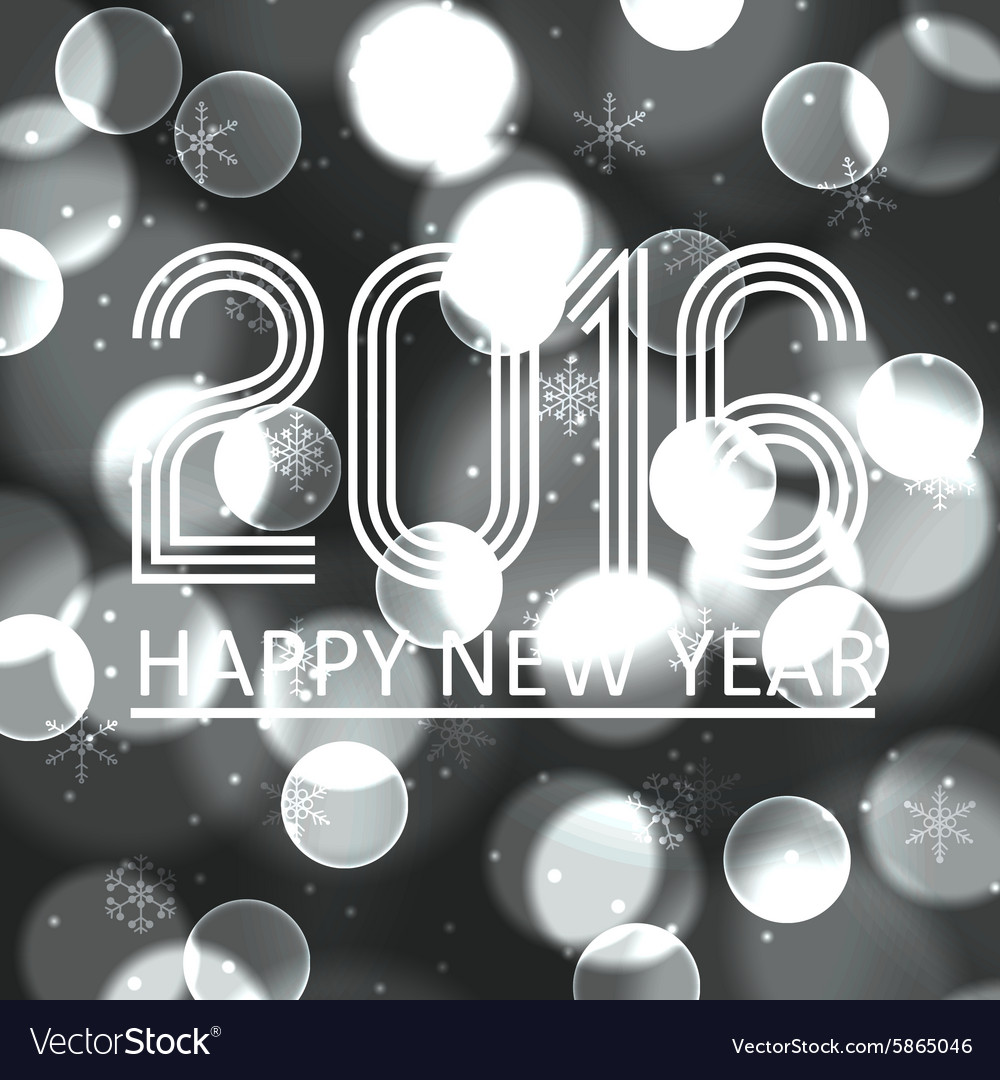 Happy new year 2016 on grayscale bokeh circle