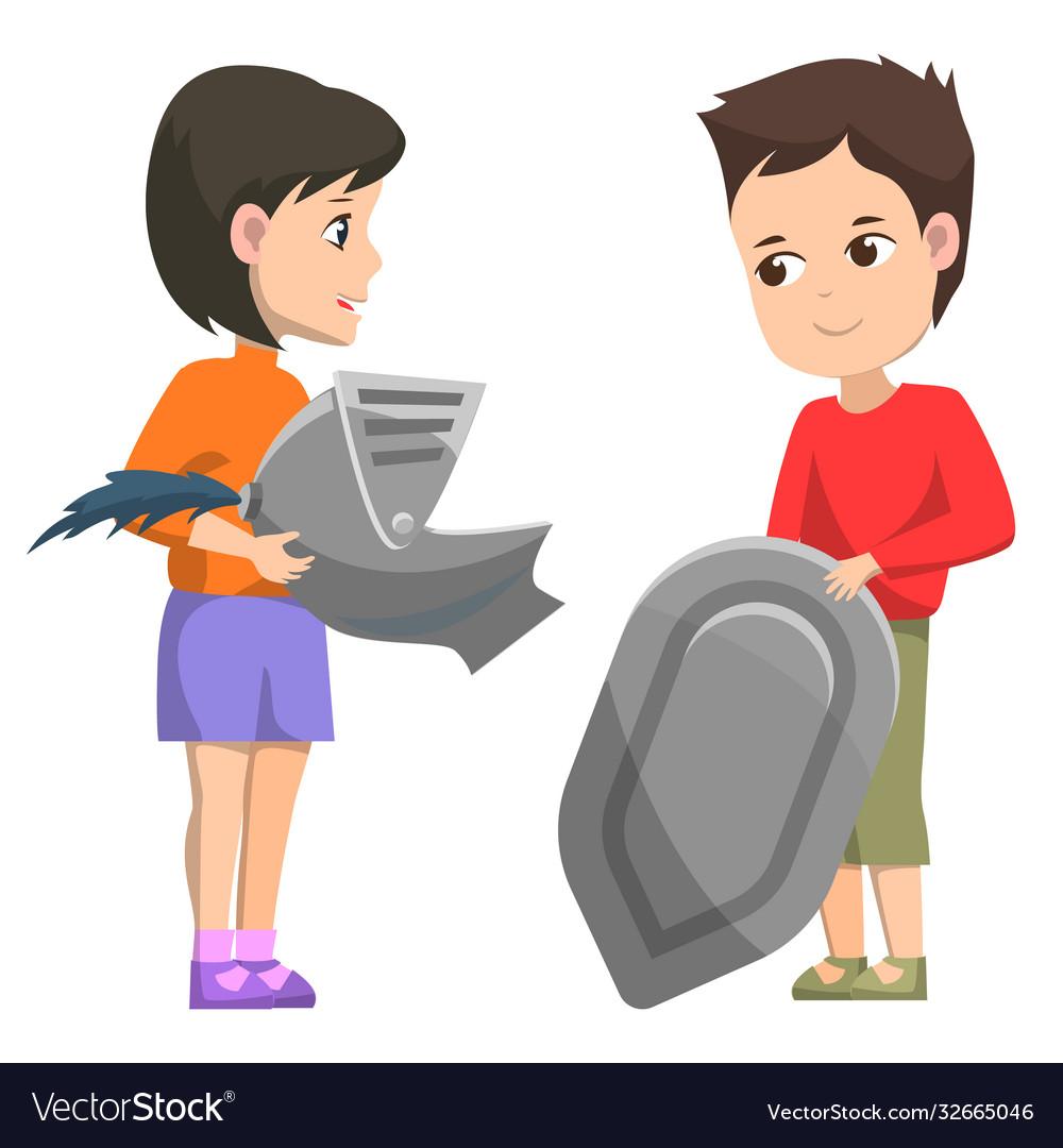 History club children with armory shield helmet