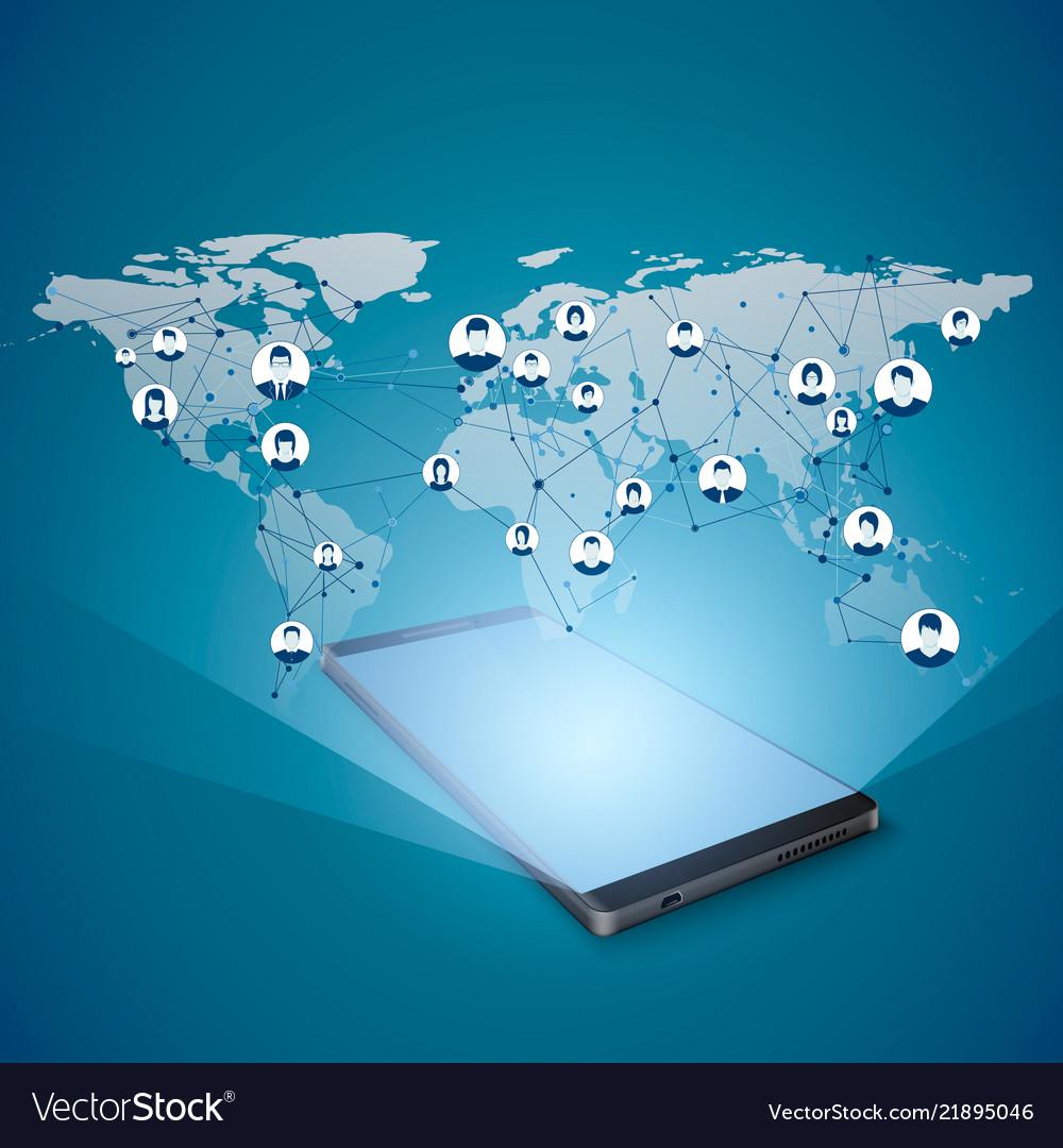 Hologram of global internet network above mobile