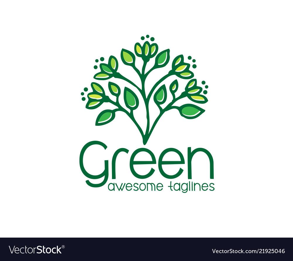 Logo green leaf ecology nature element i