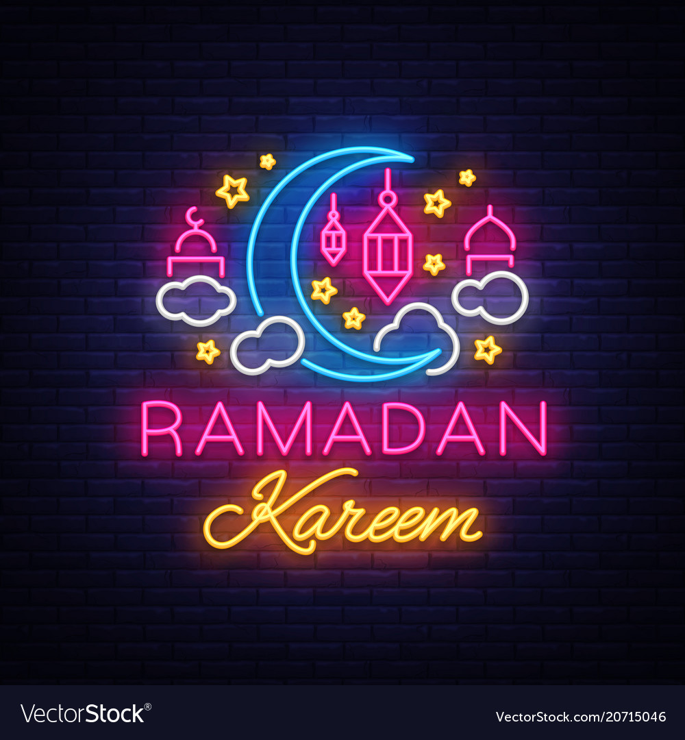 Ramadan kareem greeting cards neon sign design vector image m4hsunfo