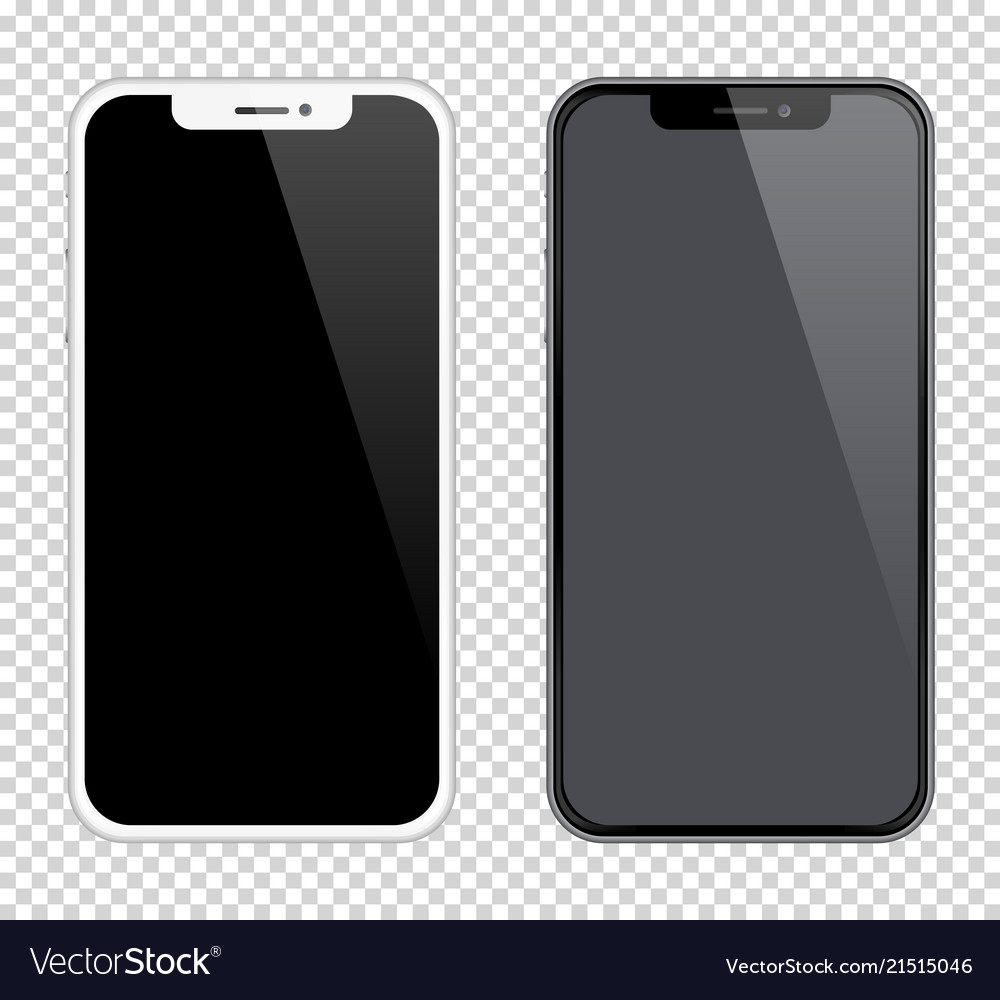 Realistic smartphones mockups black and white