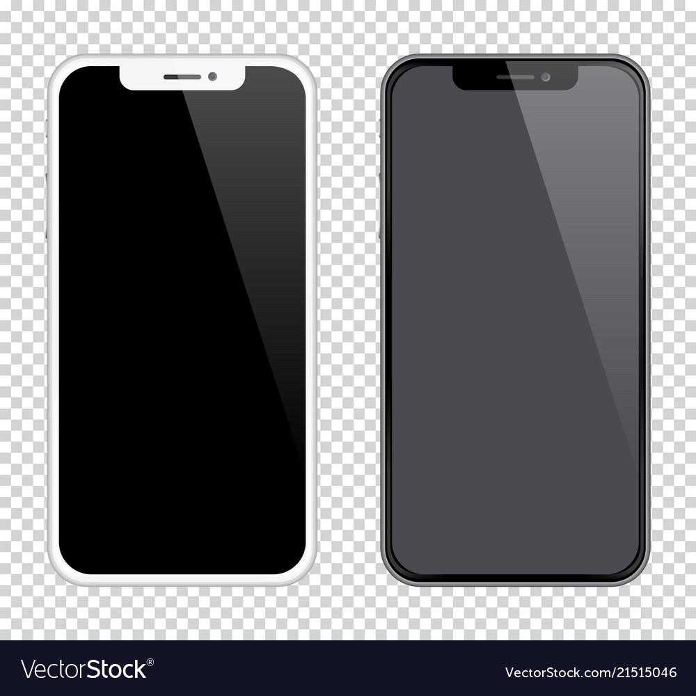 bdddc007a93058 Realistic smartphones mockups black and white Vector Image