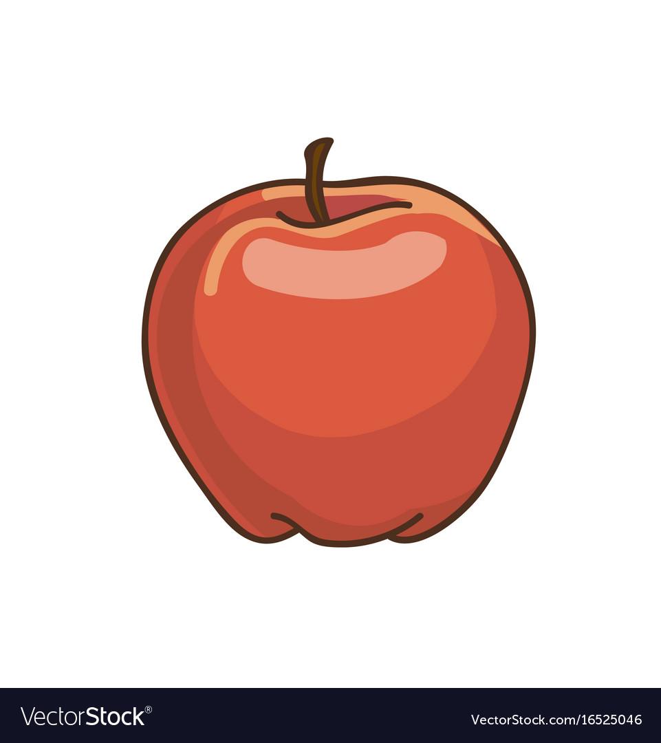 Red apple cartoon drawing fresh fruit
