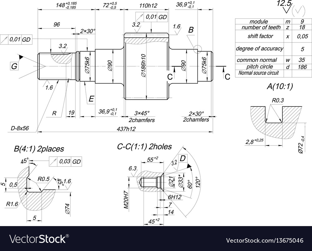 Shaft sketch with hatching engineering drawing