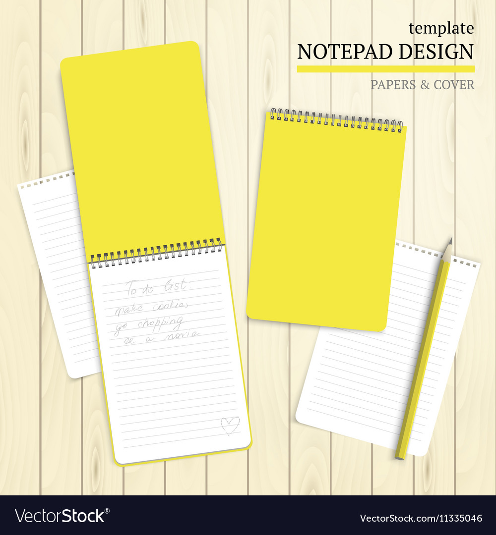 template of notebook cover and papers royalty free vector