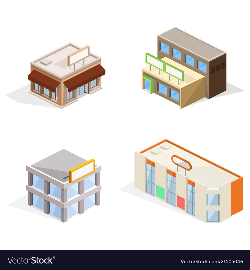 Trade buildings isometric 3d