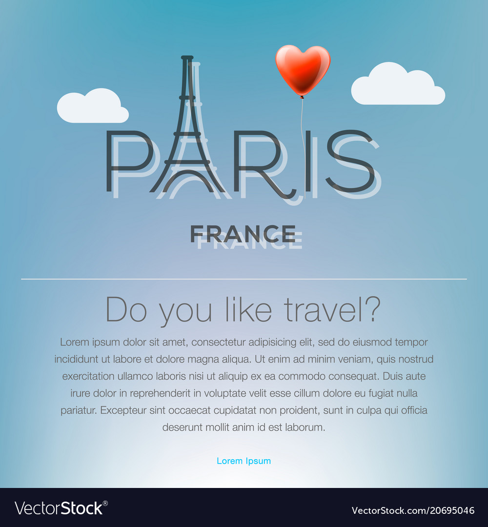 Travel to paris france traveling background vector image
