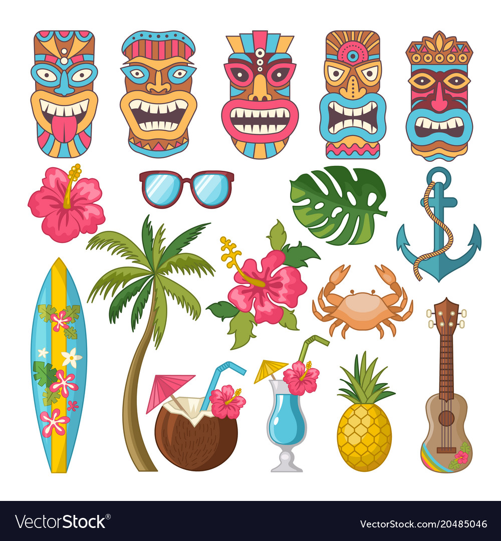 Tribal Symbols Of Hawaiian And African Culture Vector Image