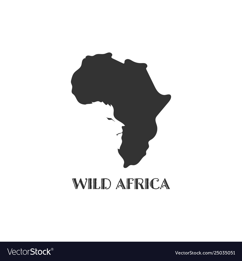 Africa map black silhouette country borders on Vector Image