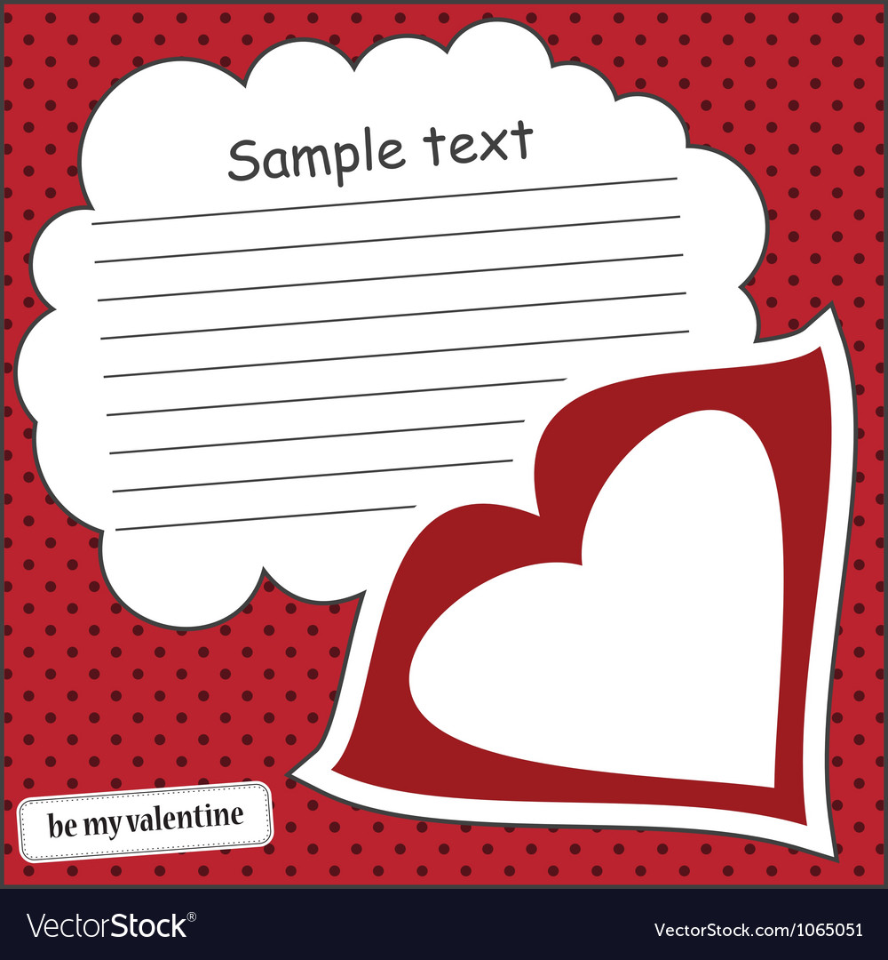 card with heart and message cloud royalty free vector image