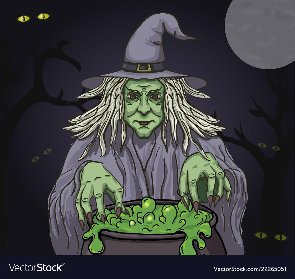 Evil cartoon witch with cauldron clip art