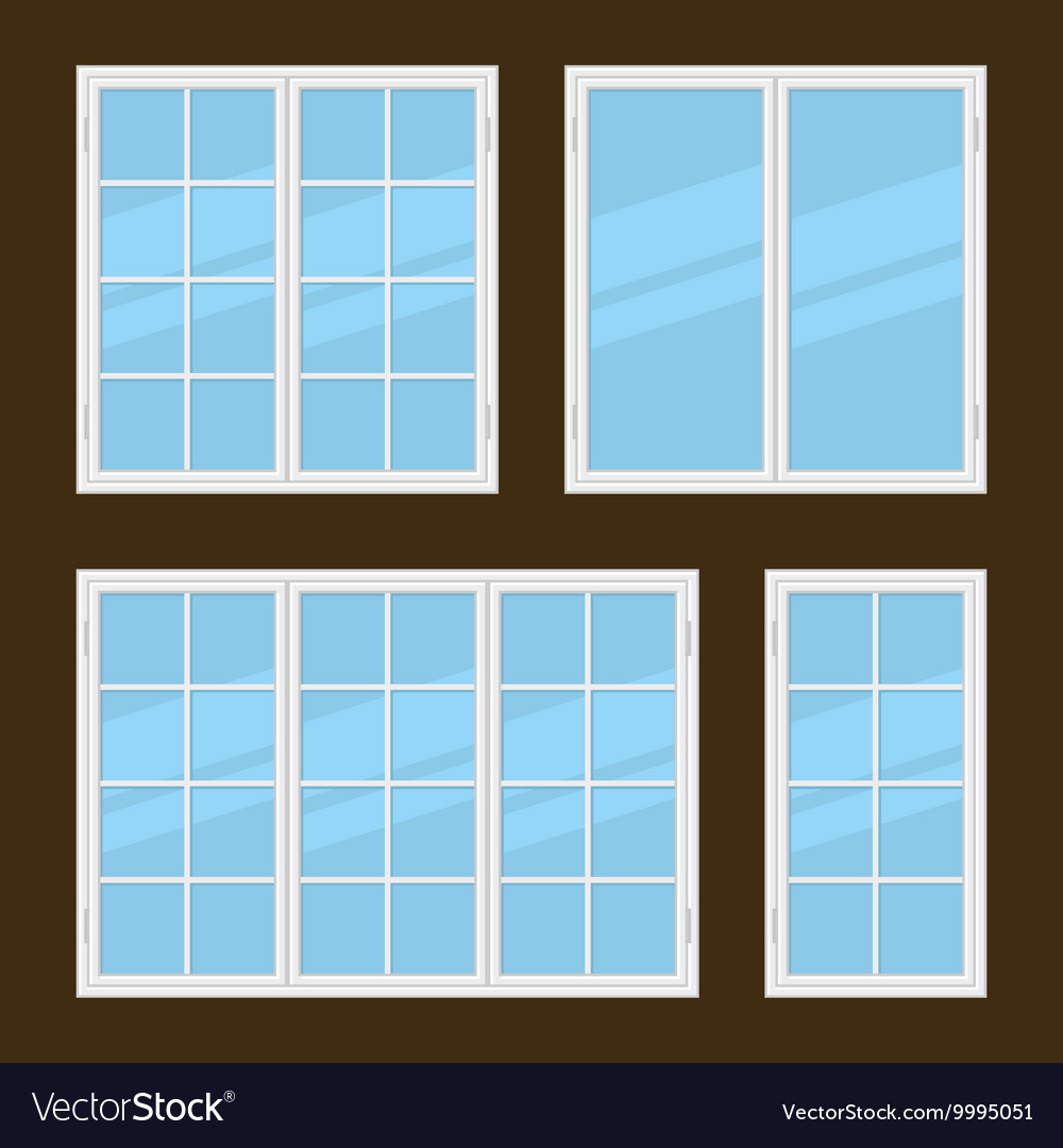 Flat Style Windows Types Set