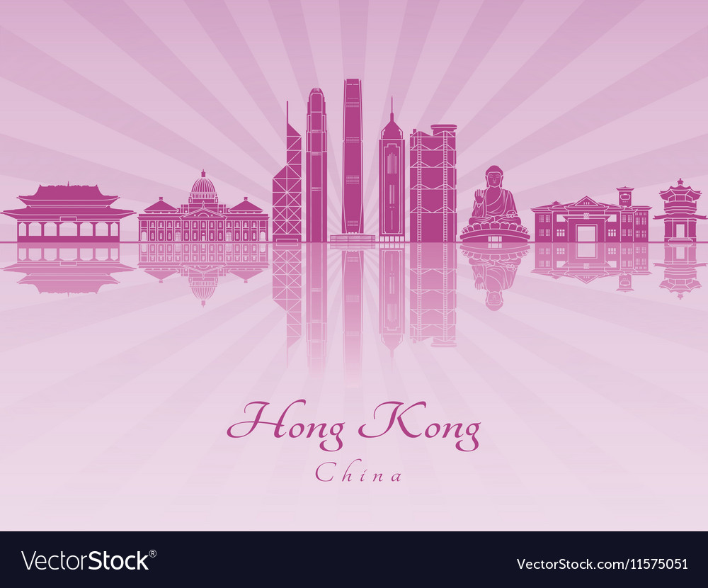 Hong Kong V2 skyline in purple radint orchid