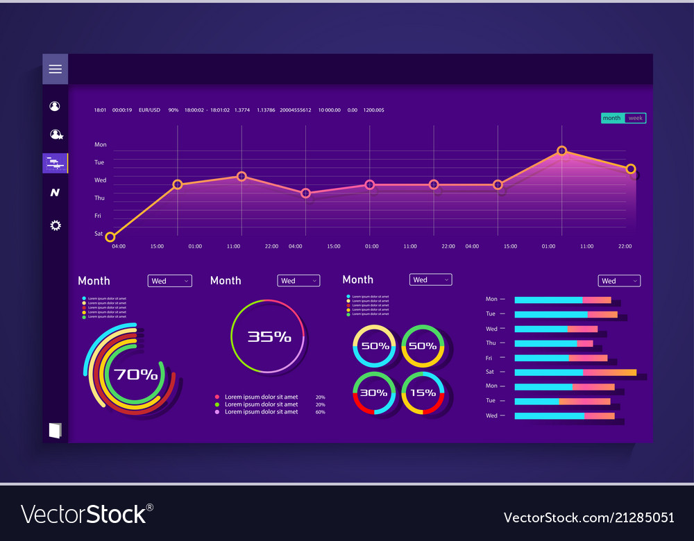 Infographic dashboard template with flat