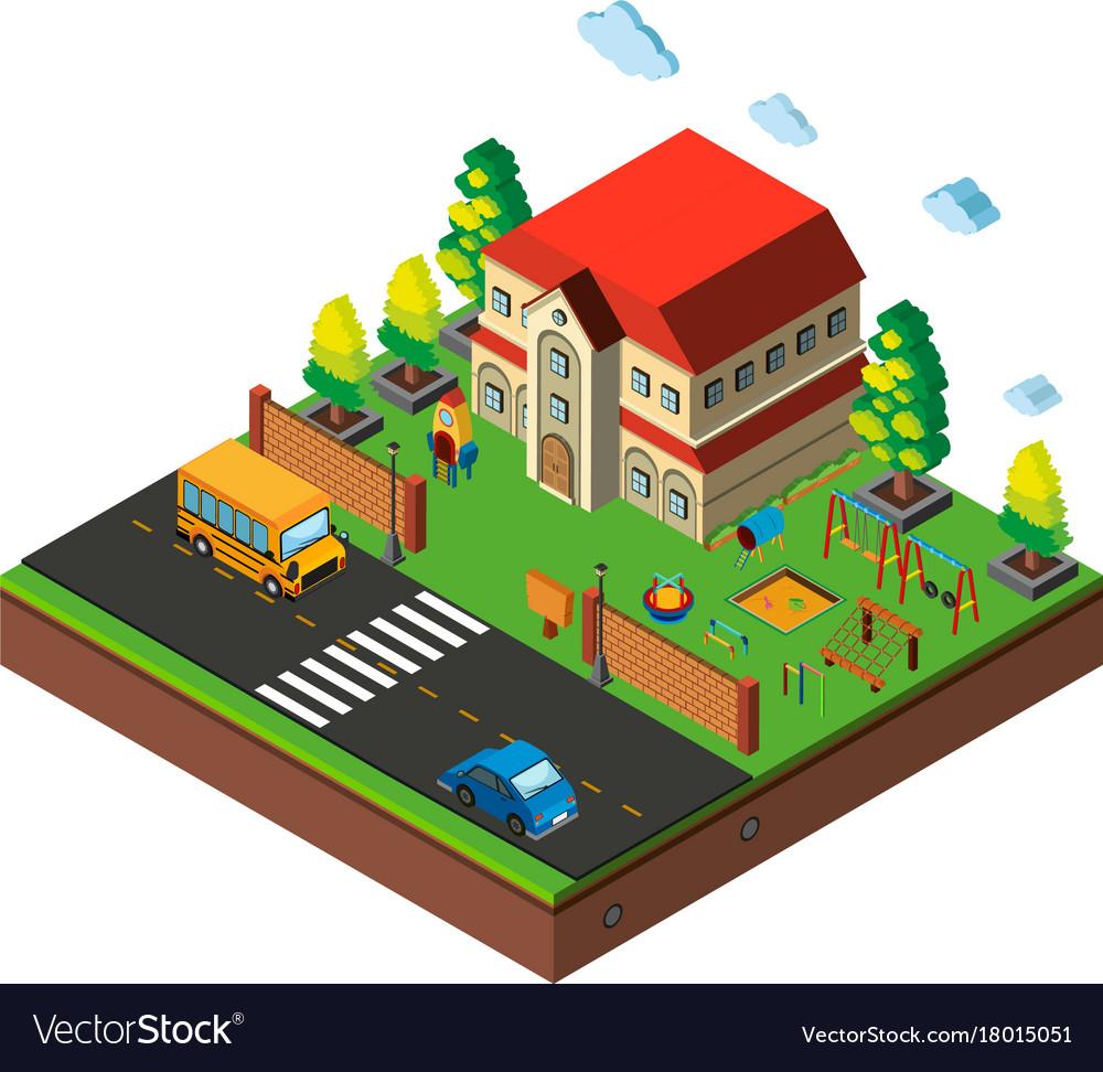 Isometric school playground scene vector image