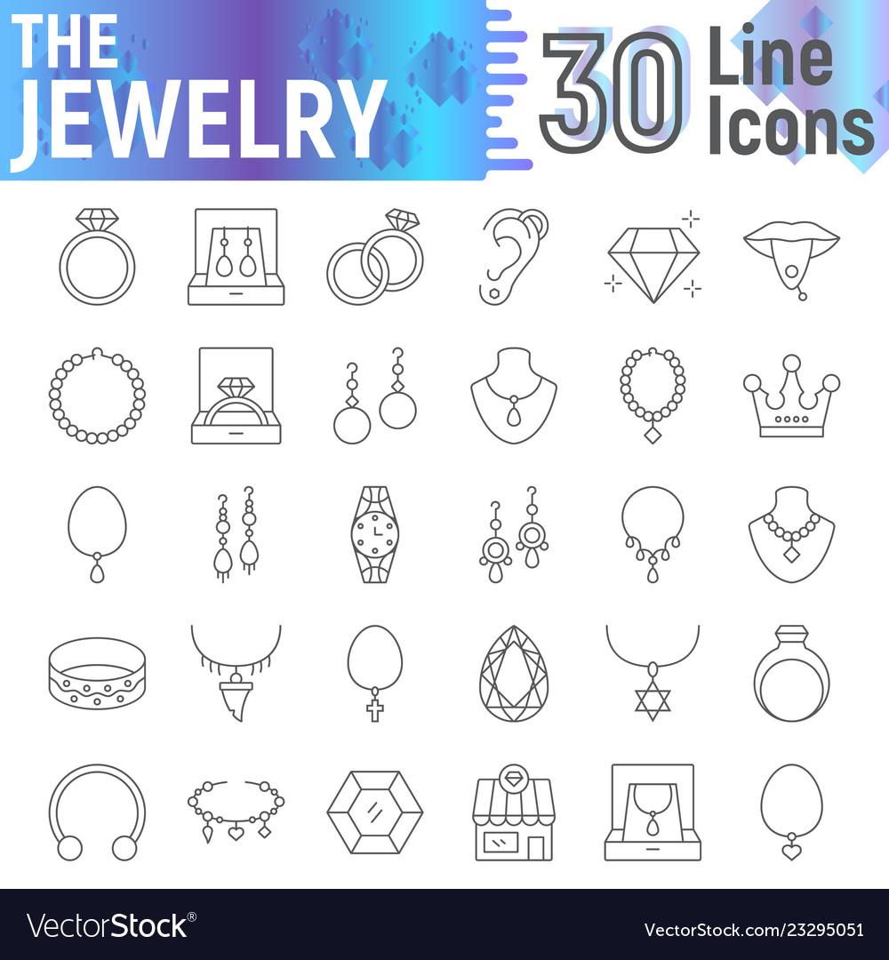 Jewelry thin line icon set accessory symbols