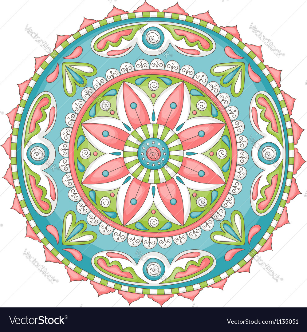 Mandala doodle color Royalty Free Vector Image