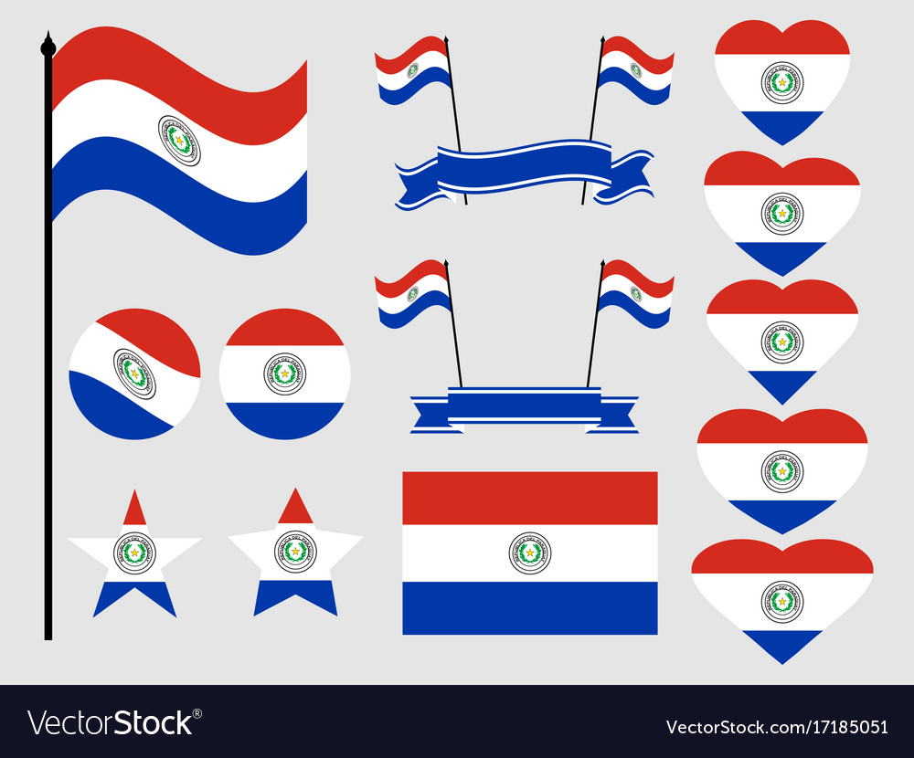 Paraguay flag set collection of symbols flag