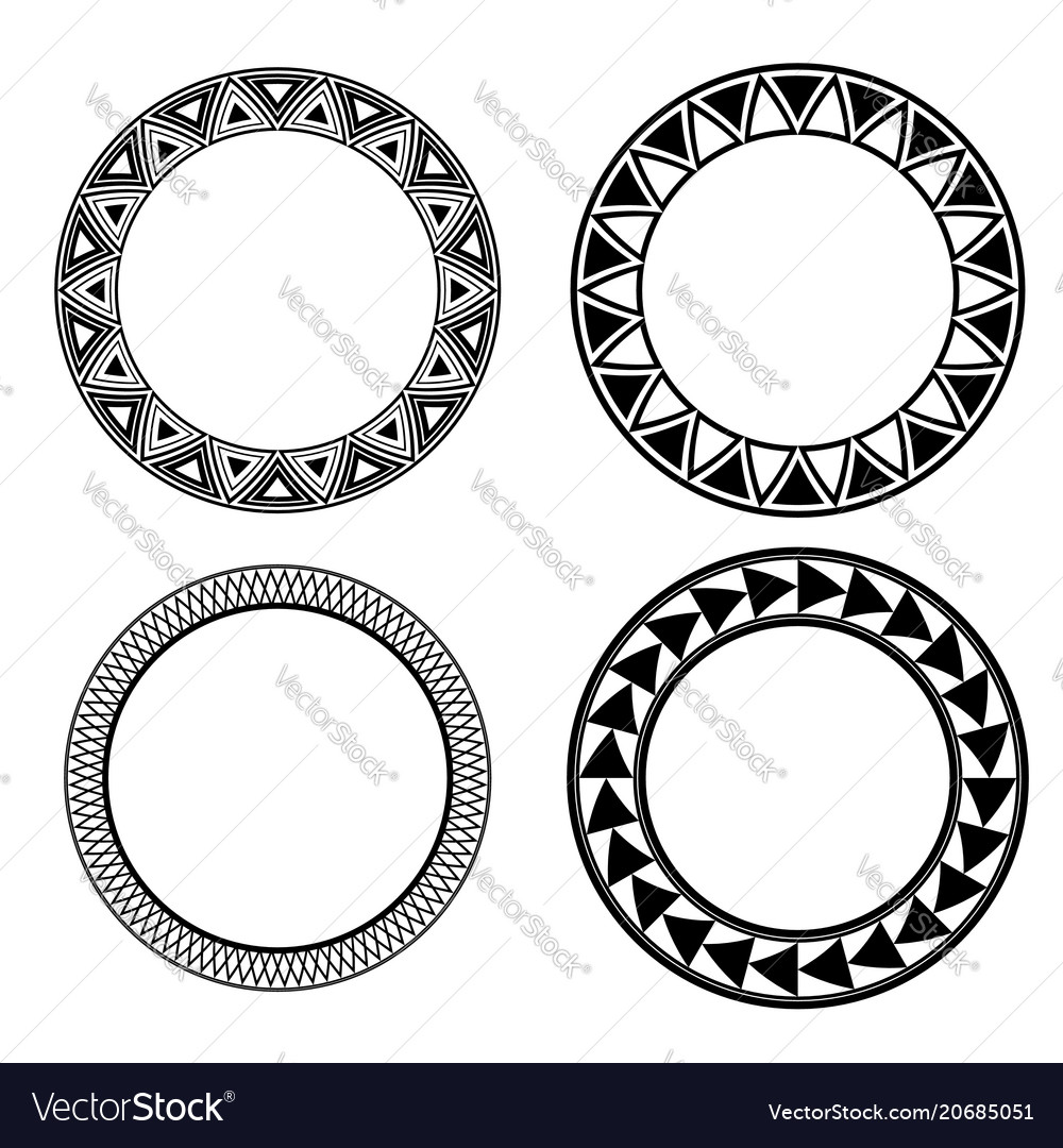 Set of black and white round frames with geometric