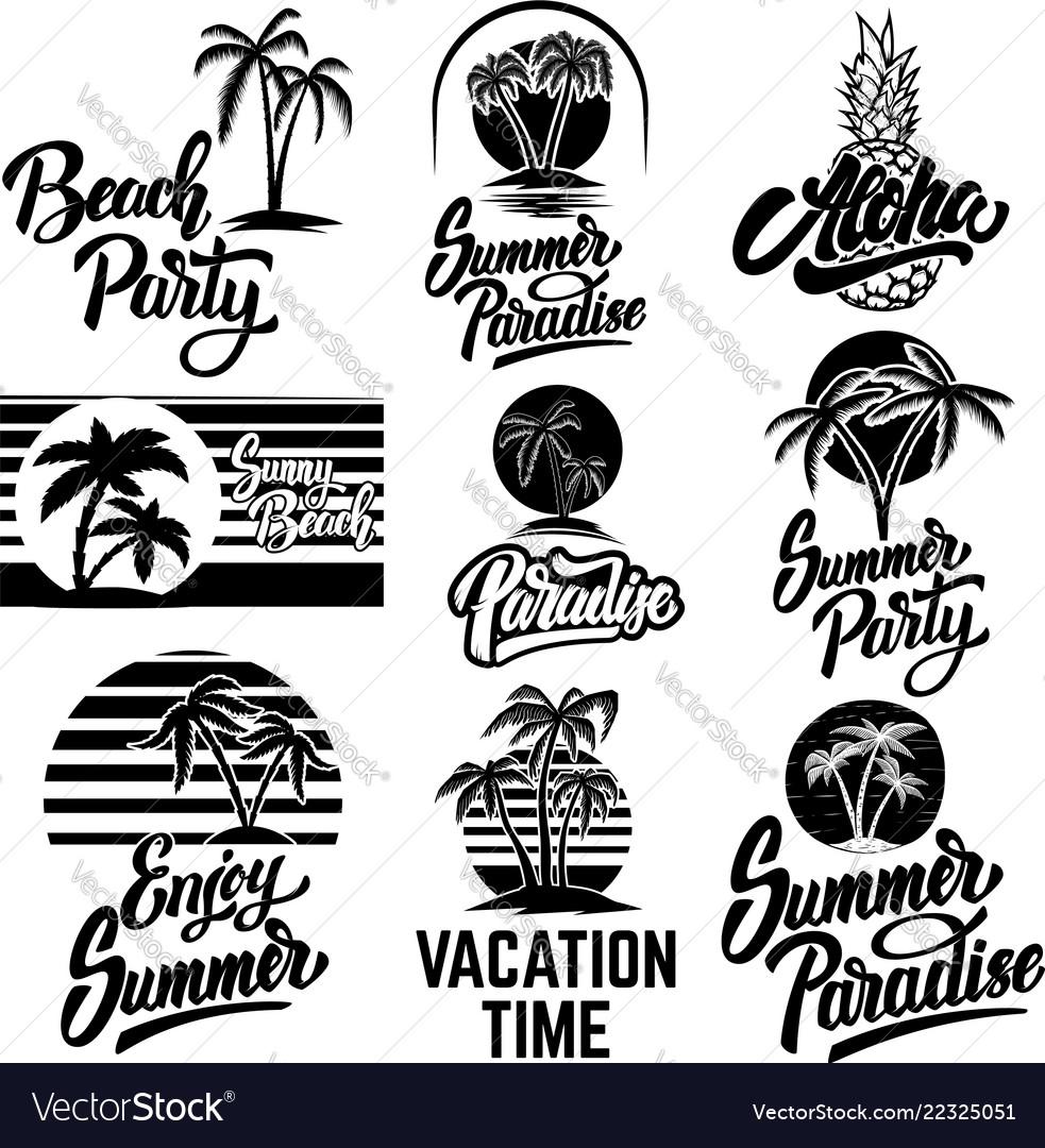 Set summer emblems with palms for emblem sign