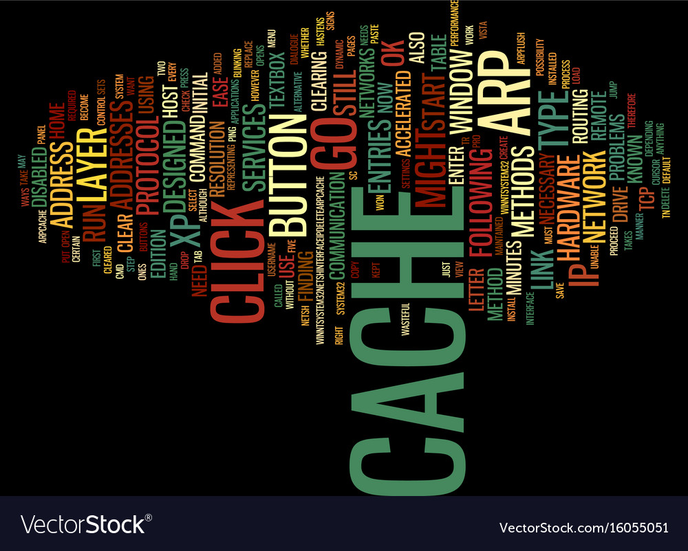 The arp cache text background word cloud concept