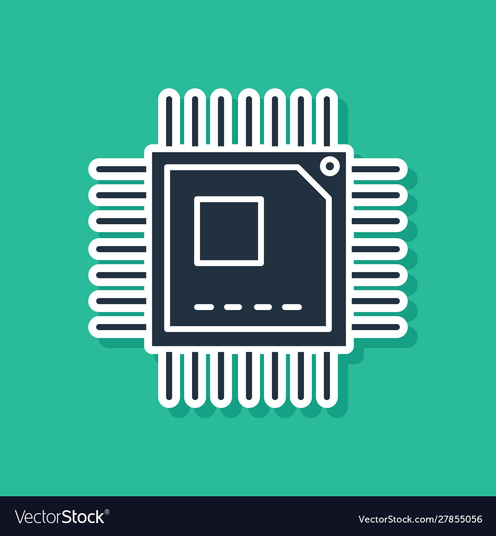 blue computer processor with microcircuits cpu vector image vectorstock