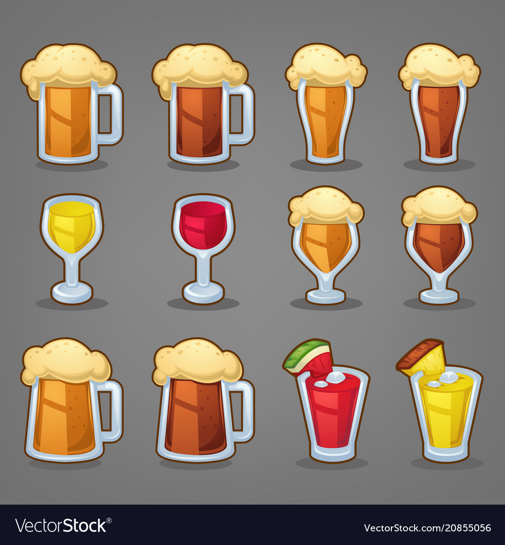 Cartoon drinks glossy icons ans objects for your