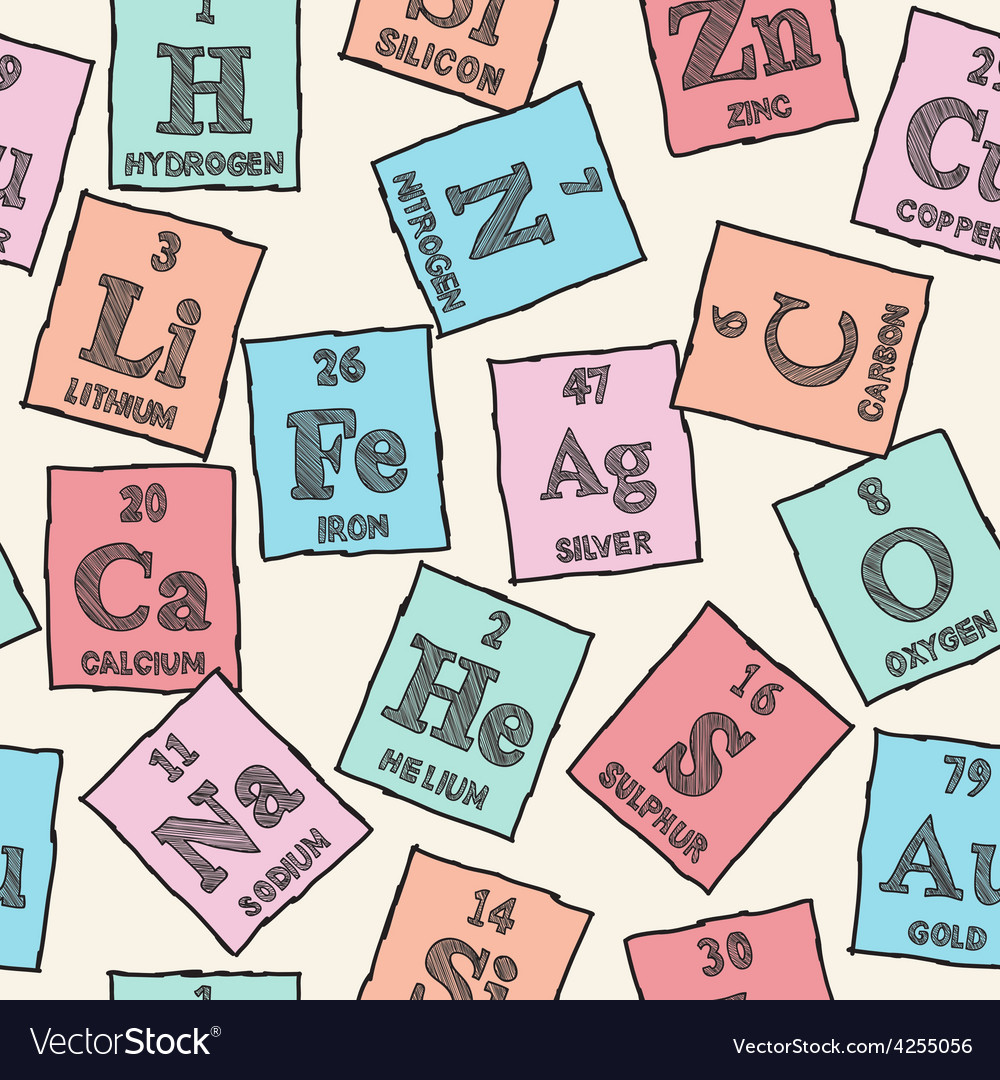 Good Chemical Elements   Periodic Table   Seamless Patt Vector Image