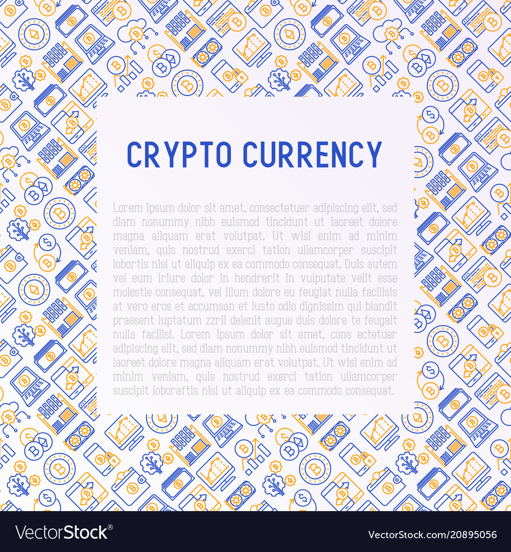 Cryptocurrency concept with thin line icons