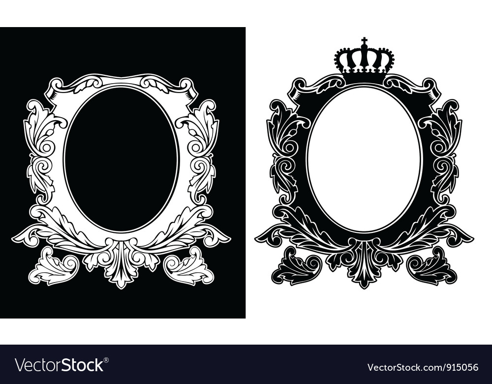 Duo Of One Color Royal Oval Frames Vector Image On Vectorstock
