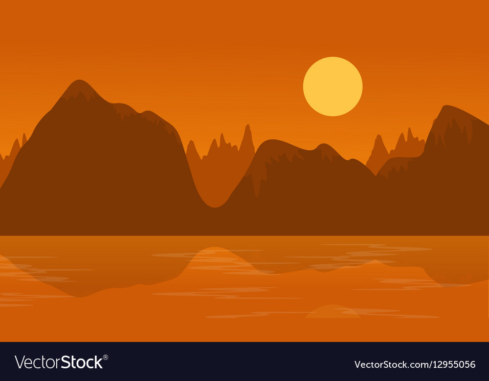 Flat of cliff and lake landscape