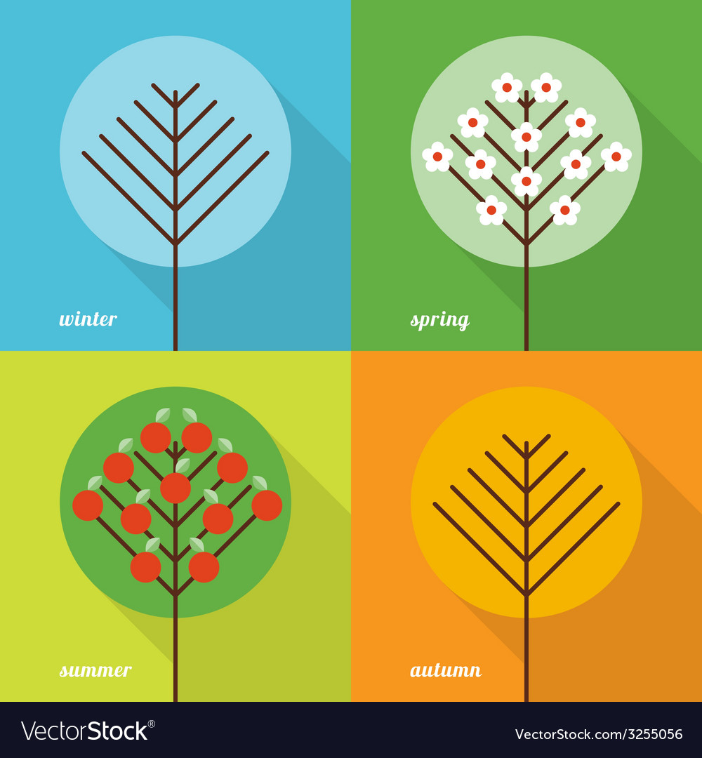 Four seasons icons vector image