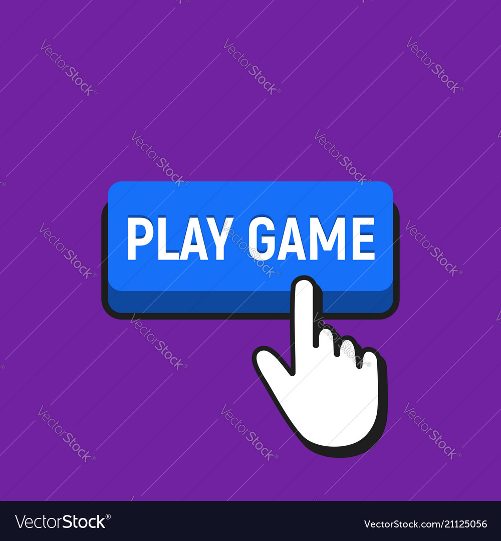 Hand mouse cursor clicks the play game button