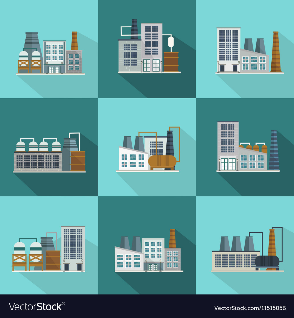 Industrial Buildings Long Shadow Flat Icons vector image
