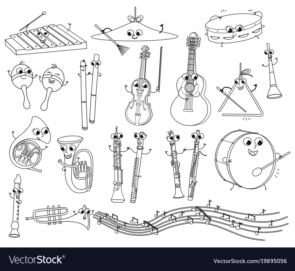 Set Funny Coloring Musical Instruments For Kids Vector Image