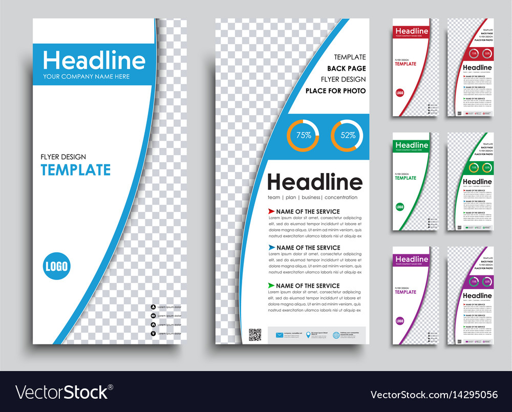 Set of narrow white flyers in 4 color options vector image