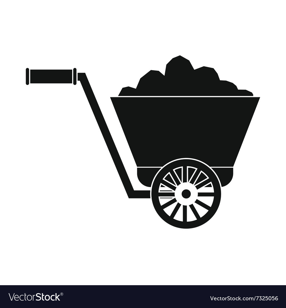 Trolley with ore black simple icon vector image