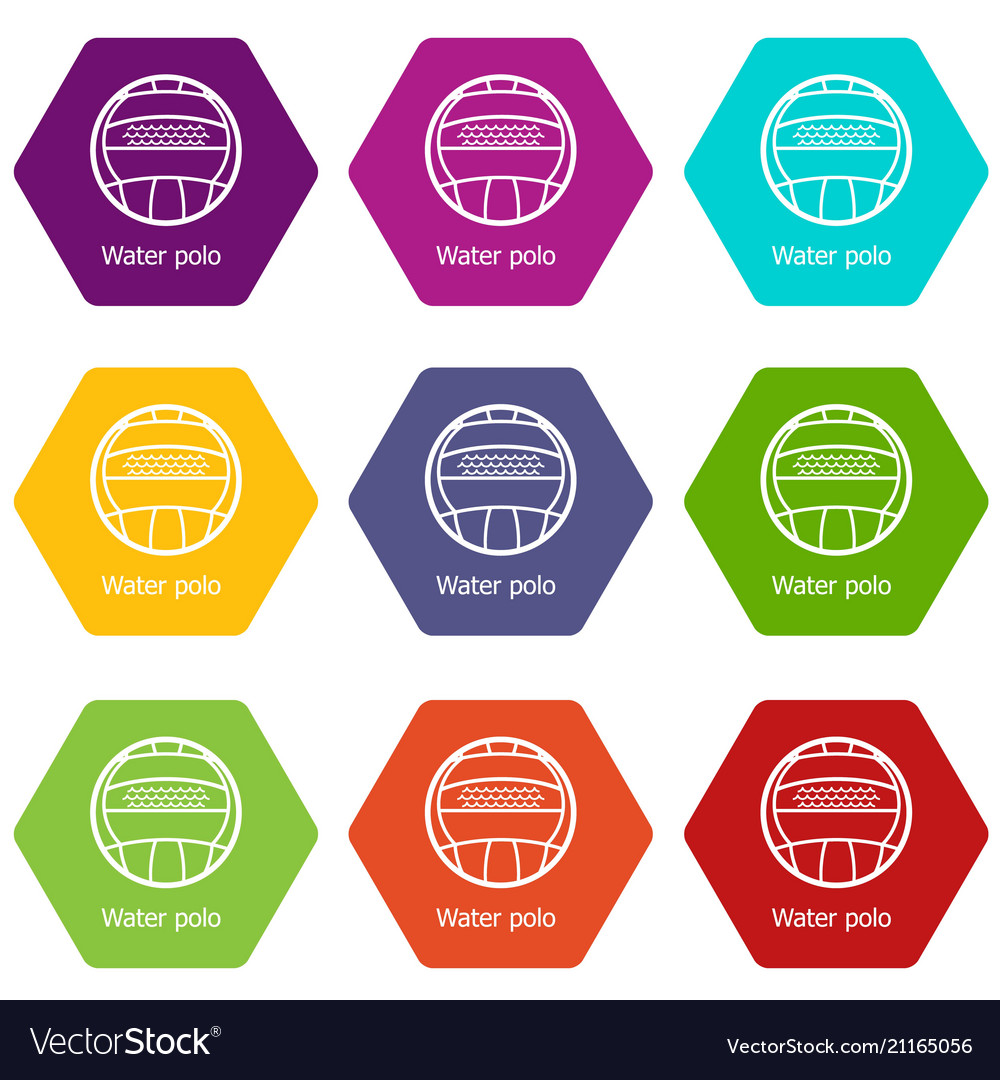 Water polo icons set 9 vector image