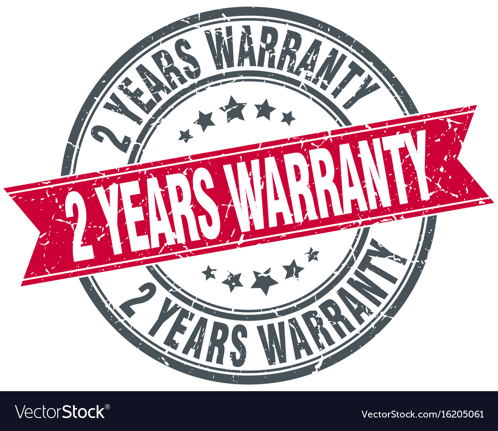 2 years warranty red round ribbon stamp vector image