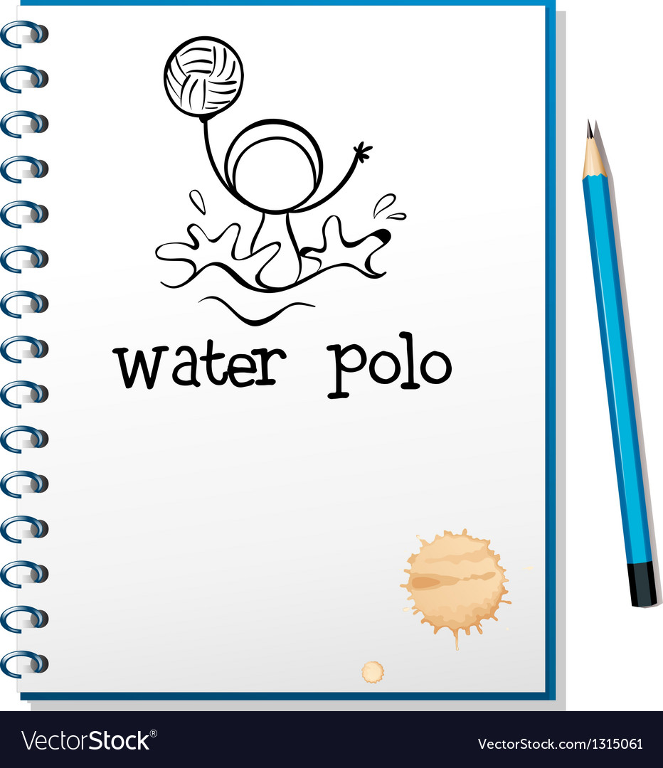 A notebook with a drawing of a boy playing water vector image