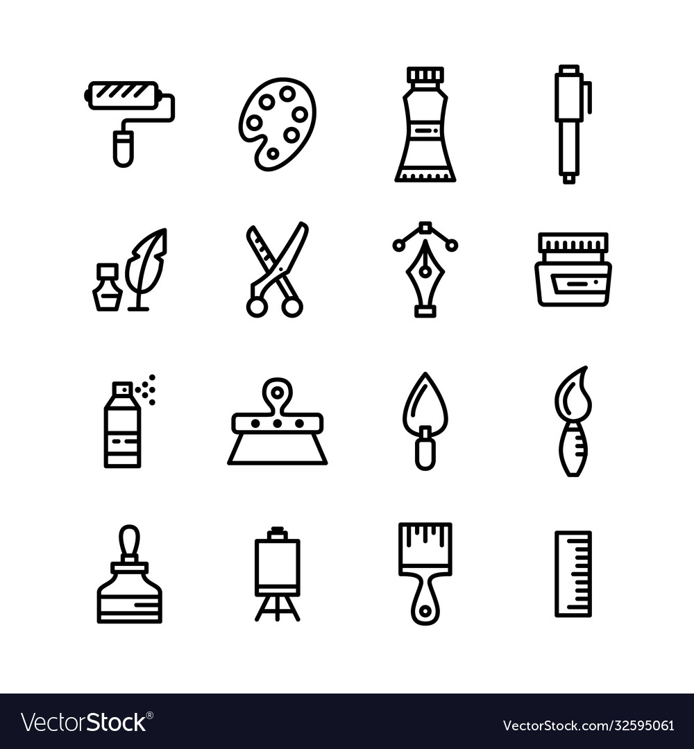 Arts and crafts line art editable stroke icons set