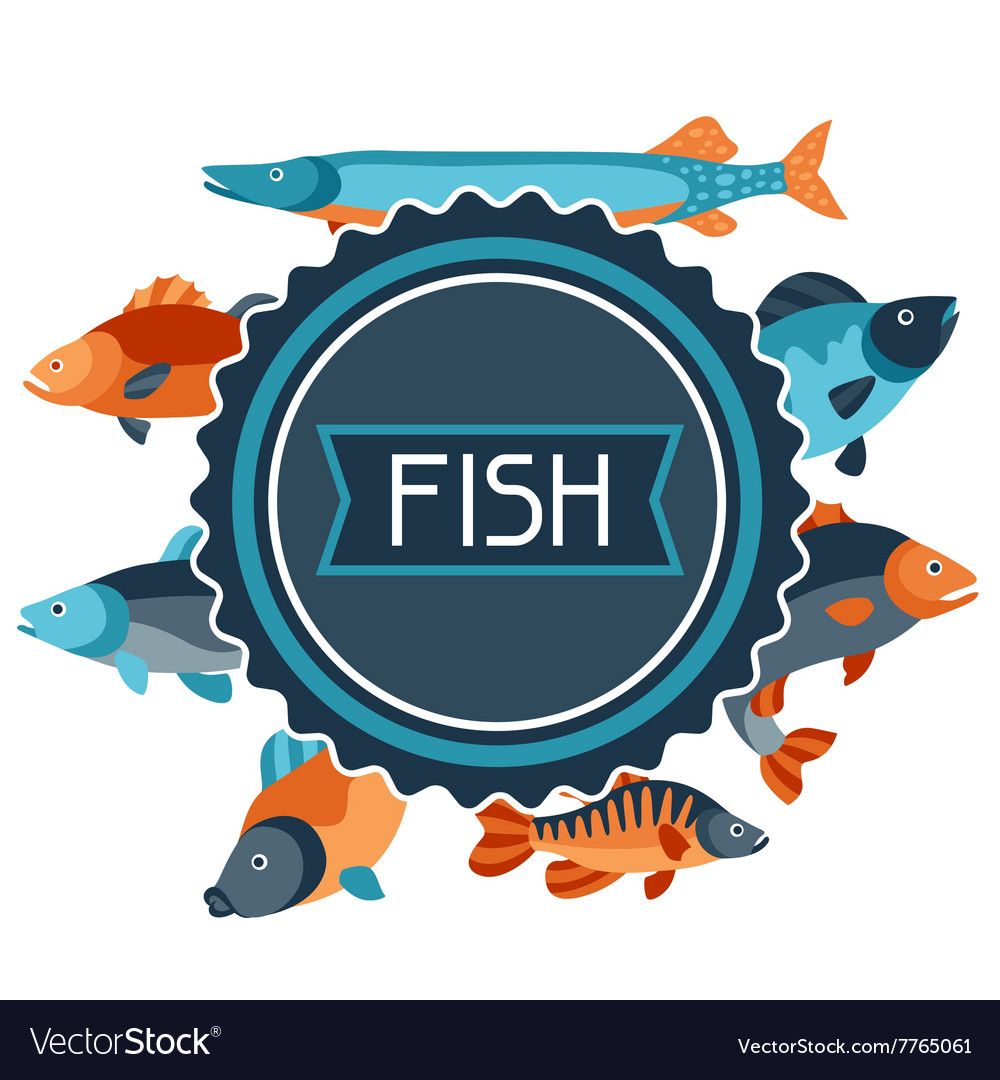 Background with various fish Image for vector image