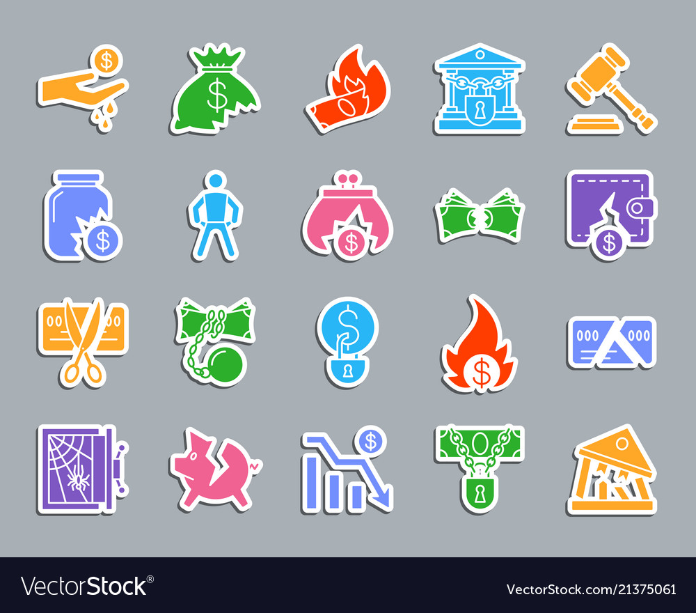 Bankruptcy patch sticker icons set