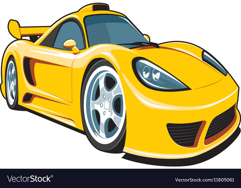 Cartoon Yellow Sport Car Royalty Free Vector Image