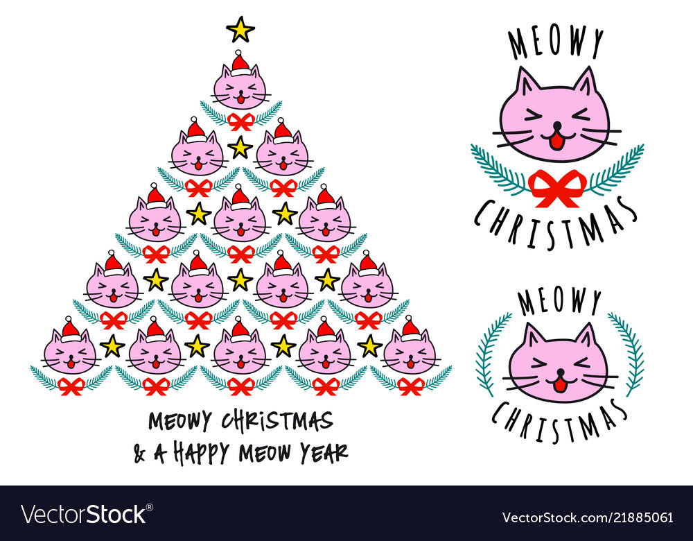 Christmas card with cute cat tree
