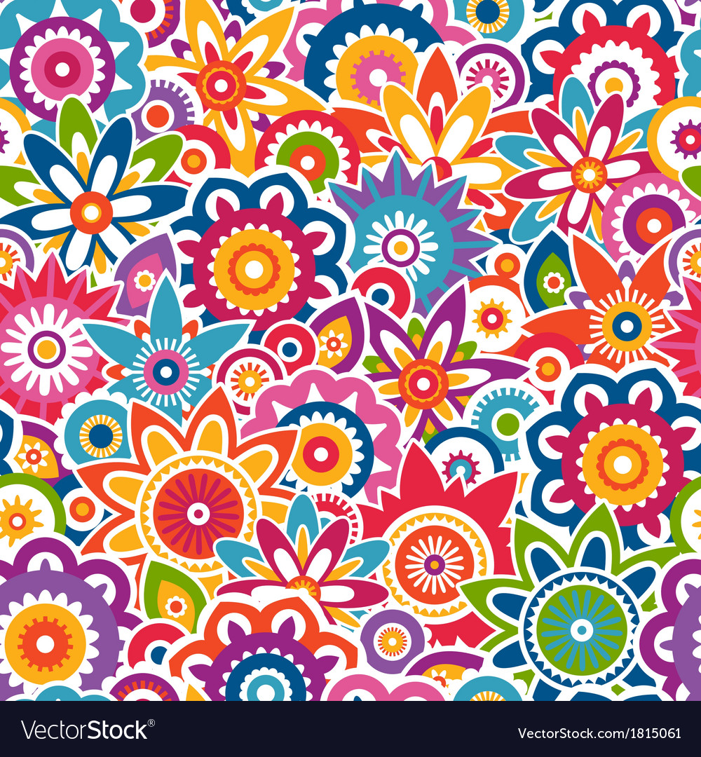 Colorful Floral Pattern Seamless Background Vector Image